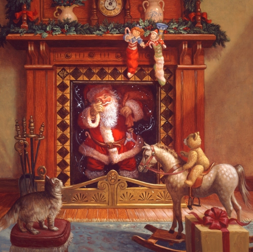 ruthsanta in fireplace