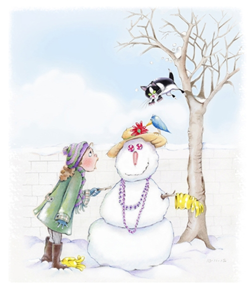 Susan DrawbridgeSnowmanFINAL color with brush effectslighter with new catsmallershadowforKT