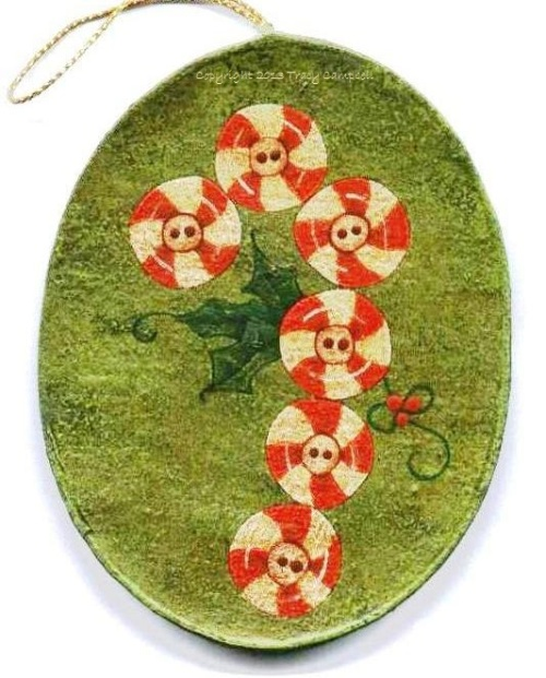 tracyCandy Cane Ornament Painted on Paper Mache - Tracy Campbell 1