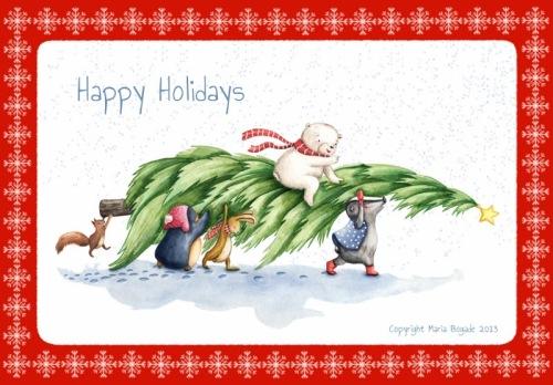 MariaBogade_Christmascard_animals