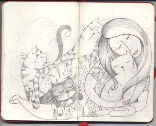 ines1woman of cats sketch 1