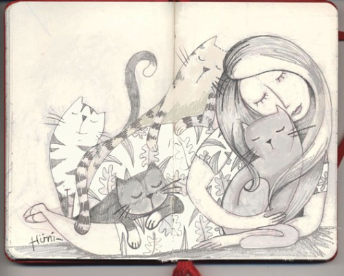ines2 woman of cats sketch 2