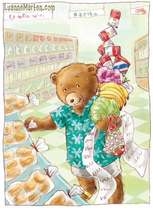 A bear is in the grocery store shopping, with all his items stacking up in his arms.