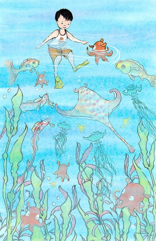 Boy meets octopus & other sea critters