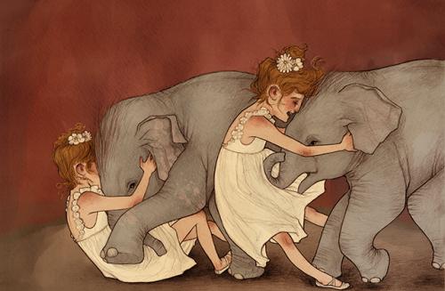 two girls two elephants