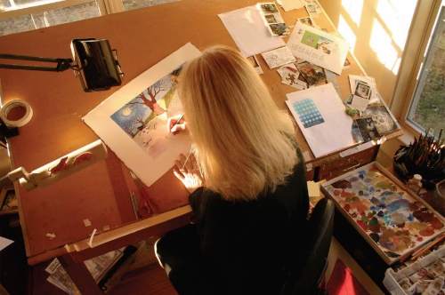 Nancy Cote working
